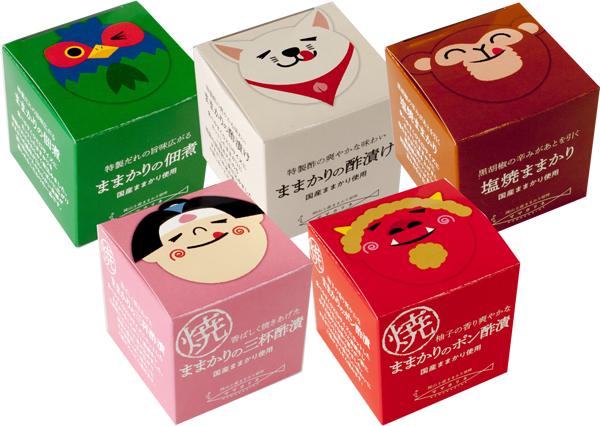 土産品として評判の高いままかりを、5種類の味付けでアレンジ。岡山ならではの桃太郎を用いたパッケージも人気