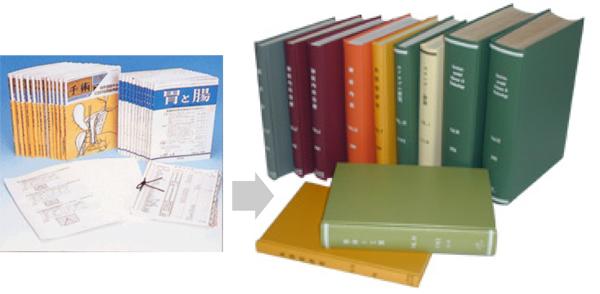 学術雑誌や学会誌などの資料をまとめて、タイトル・巻号・年号・ネームなどを入れ、ハードカバーの上製本に加工する